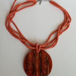 Vintage Orange Pendant Beaded Necklace